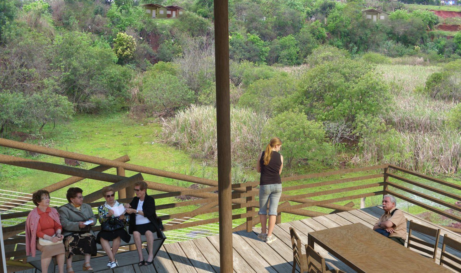 Vista do terraço junto aos tonéis para a área oeste do Parque.