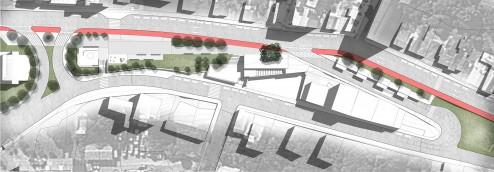 Implantação do setor da praça e edificações