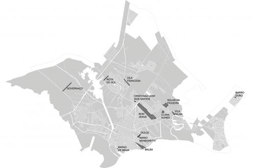 mapa dos assentamentos beneficiados pelo Programa Papel Passado em Pelotas