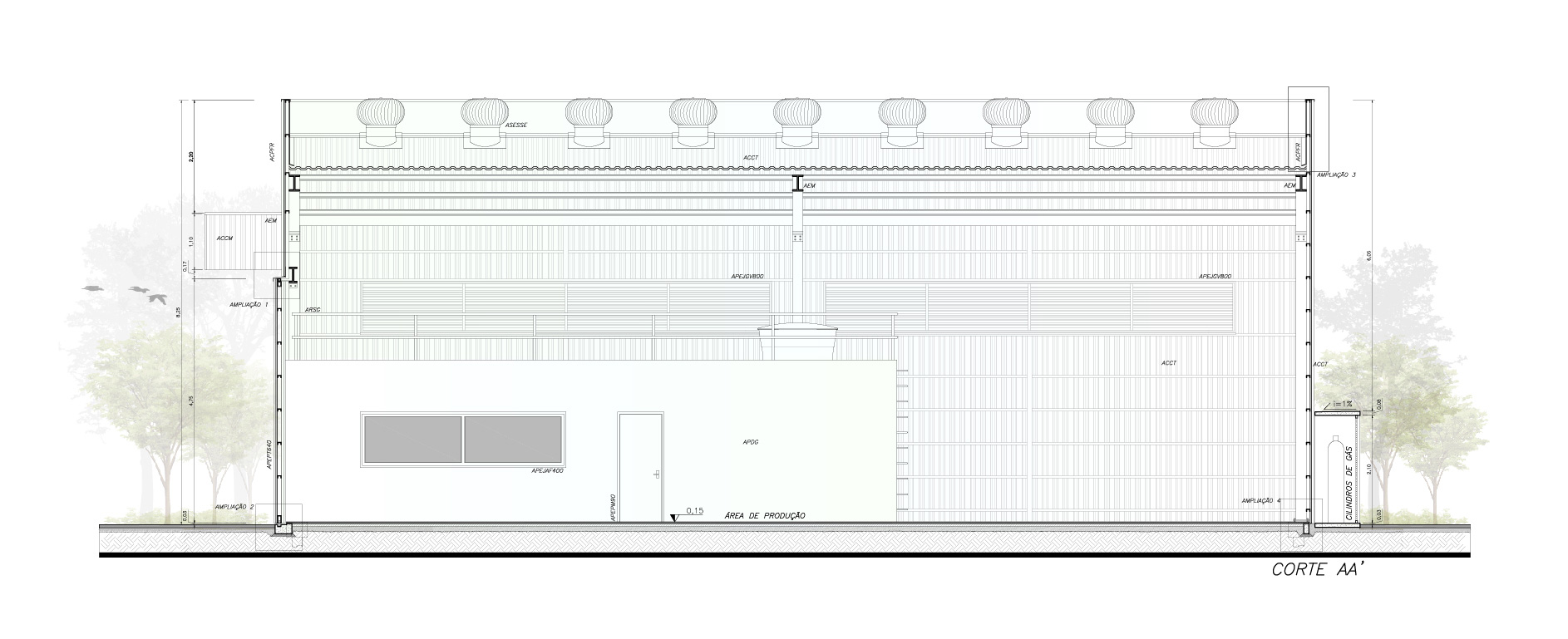 Corte da edificação