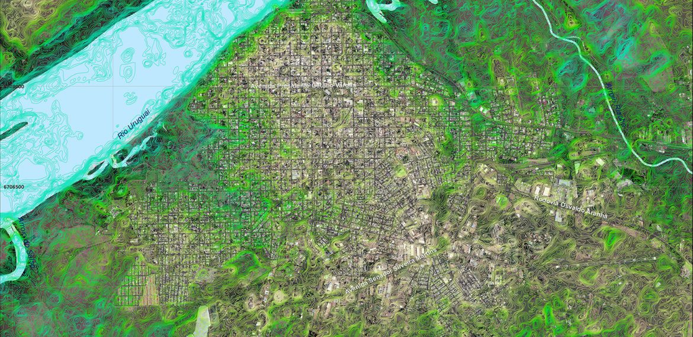 Modelo Digital do Terreno ASTER GDEM-V2, usado para complementar os levantamentos de campo